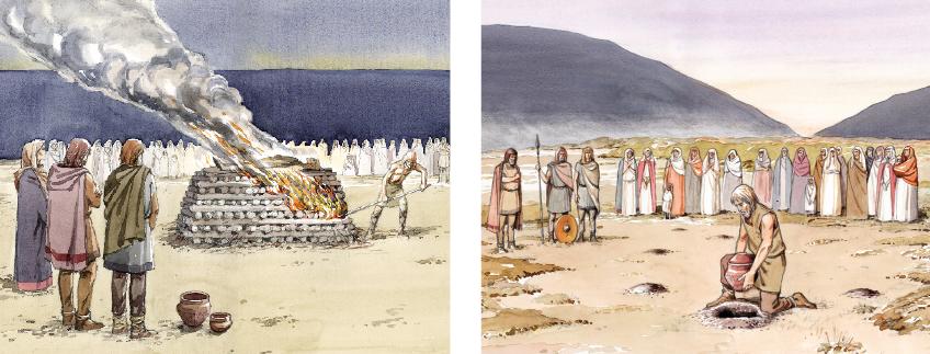 Feuerbestattung war in der Vorrömischen Eisenzeit in Ostwestfalen die alleinige Bestattungssitte und blieb es bis in die Römische Kaiserzeit (4. Jh. n. Chr.)  (Grafik G. Riedel, Bielefeld)