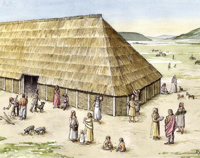 Wohnstallhaus in der Vorrömischen Eisenzeit (Grafik G. Riedel, Bielefeld)